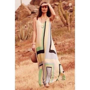 Anthropologie Maeve Abstract Colorblock Maxi Dress